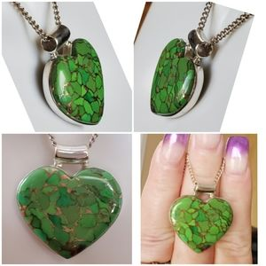 Jewelry - Huge Copper Green Turquoise Heart Pendant/Necklac